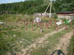 Винтовые сваи под дом из бревна D= 250 мм., лиственница. Сергиев-Посадский район.