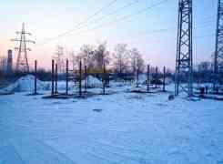 Монтаж винтовых свай d133мм с литым наконечником под подстанцию, Орловская область, февраль 2012 г.